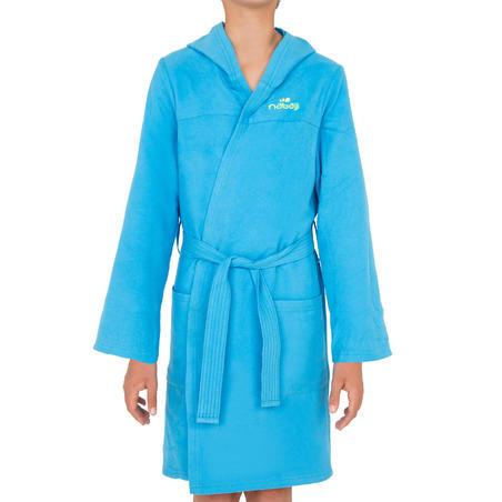 Bata de microfibra para niños azul claro con capucha, bolsillos y cinturón