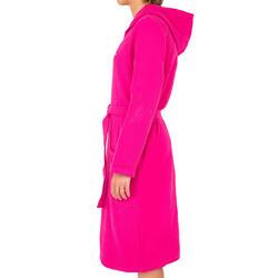 Lichte zwembadjas katoen dames roze met strikceintuur en kap - 1034305