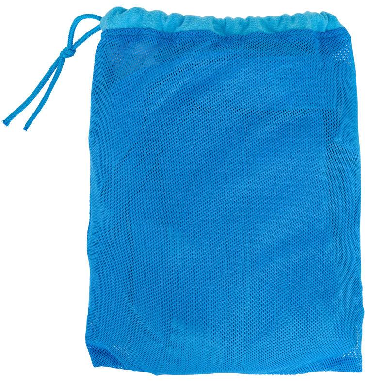 Bata de microfibra natación niños azul con capucha, bolsillos y cinturón