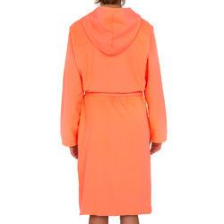 Badjas microvezel dames violet met kap, zakken en strikceintuur - 1034310