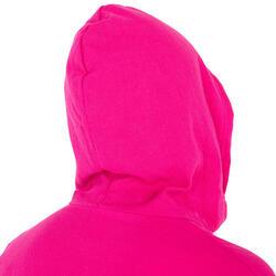 Lichte zwembadjas katoen dames roze met strikceintuur en kap - 1034314