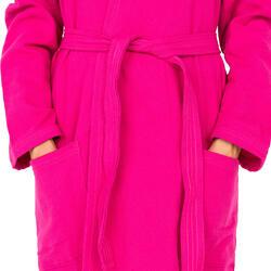 Lichte zwembadjas katoen dames roze met strikceintuur en kap - 1034318