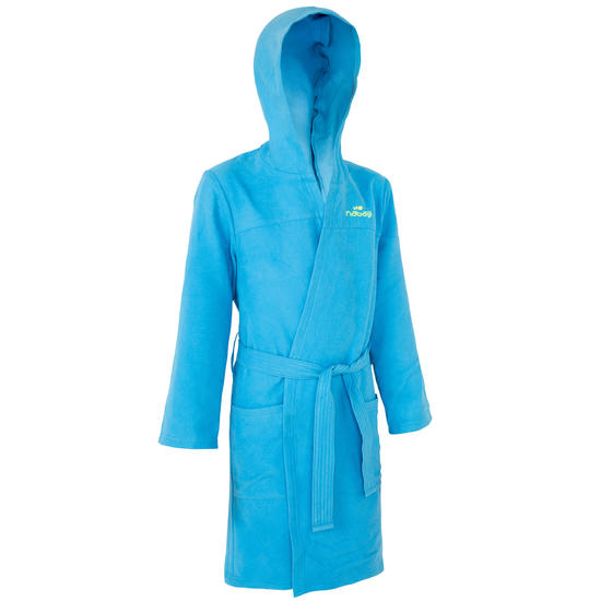 Microvezel kinderbadjas met kap, zakken en strikceintuur - 1034324
