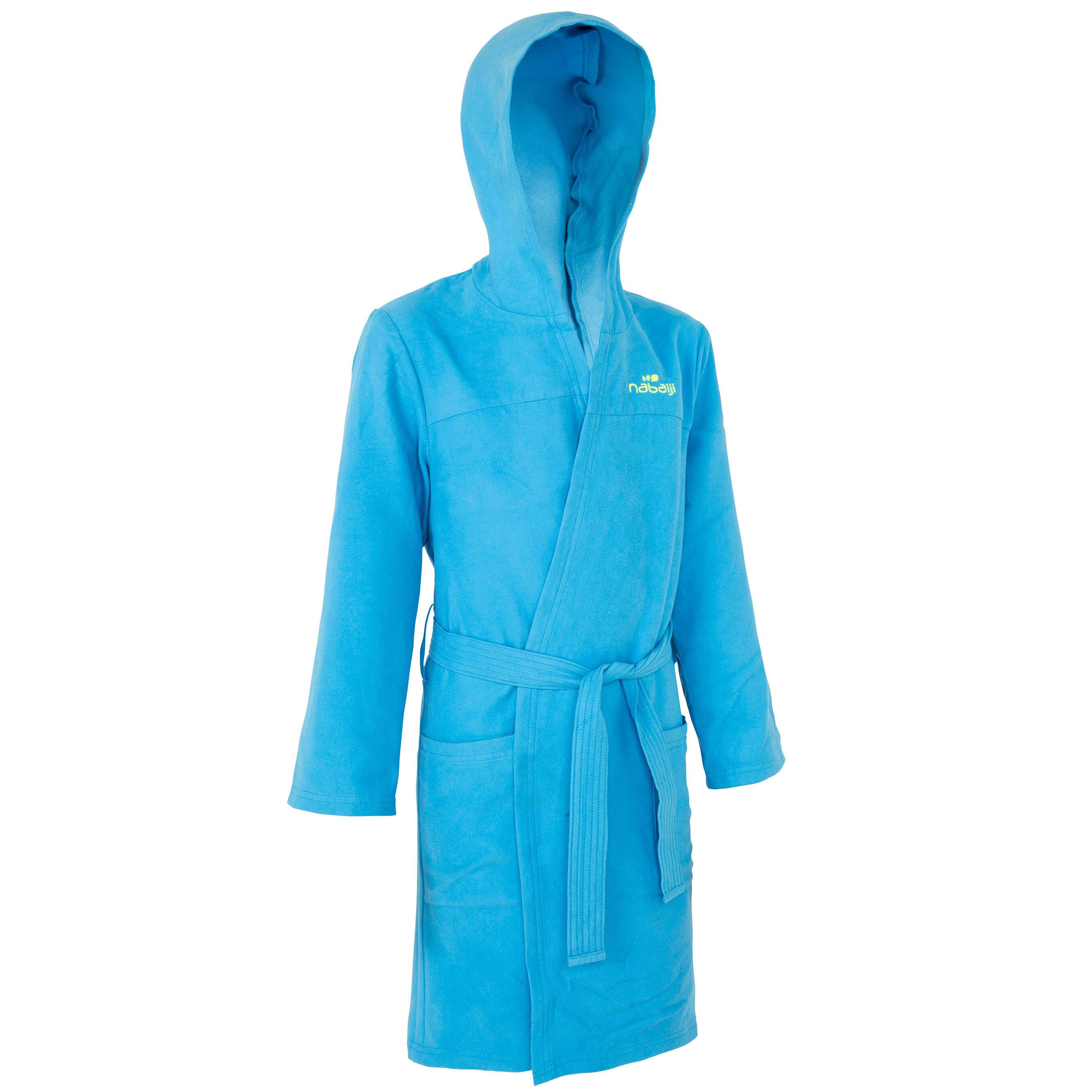 Peignoir microfibre natation enfant bleu avec capuchon, poches et ceinture