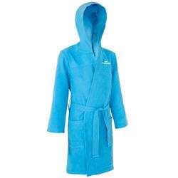 Peignoir enfant microfibre bleu avec capuchon, poches et ceinture