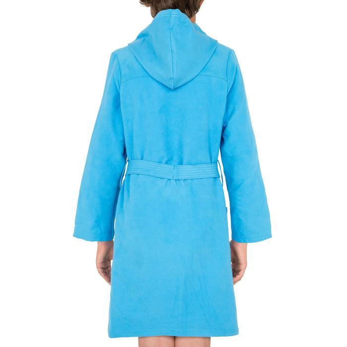 Microvezel kinderbadjas met capuchon, zakken en bindceintuur lichtblauw