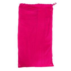 Lichte zwembadjas katoen dames roze met strikceintuur en kap - 1034331