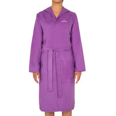 Bata microfibra violeta con capucha, bolsillos y cinturón mujer