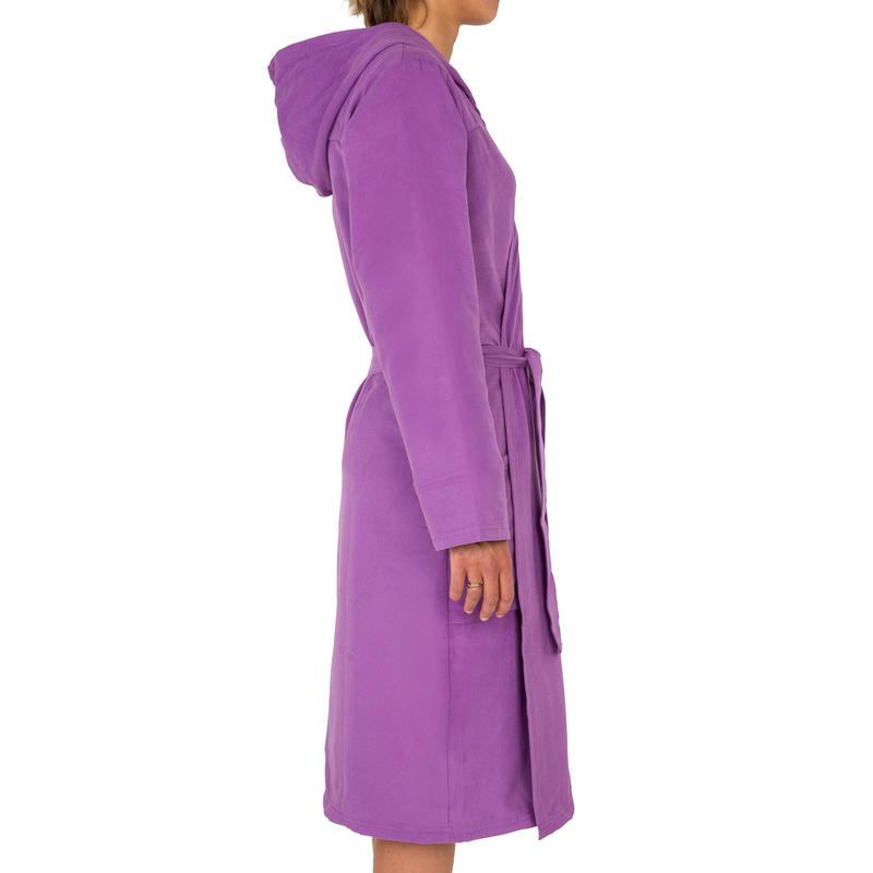 Peignoir femme compact et microfibre violet avec capuche, poches et ceinture