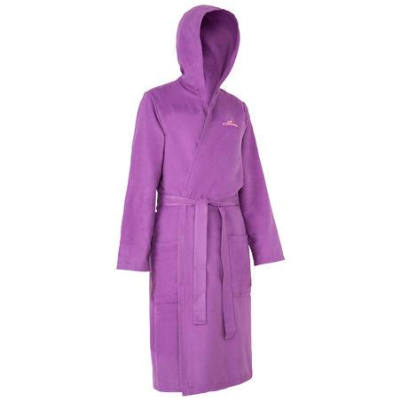 Bata microfibra natación mujer morado con capucha, bolsillos y cinturón