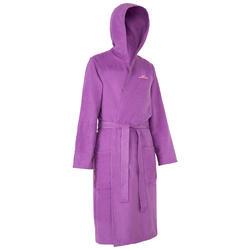 Peignoir femme microfibre violet avec capuchon, poches et ceinture