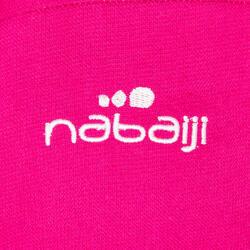 Lichte zwembadjas katoen dames roze met strikceintuur en kap - 1034351