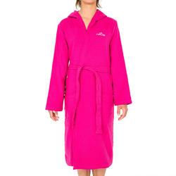 Lichte zwembadjas katoen dames roze met strikceintuur en kap - 1034354