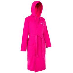 Lichte zwembadjas katoen dames roze met strikceintuur en kap