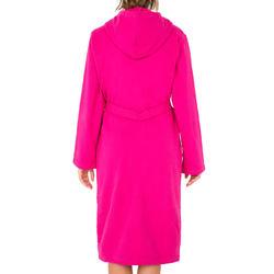 Lichte zwembadjas katoen dames roze met strikceintuur en kap - 1034365