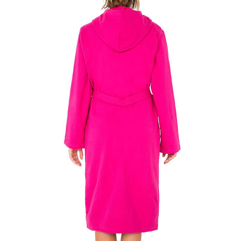 Pink Women's Lightweight Cotton Pool Bathrobe with Hood and Belt