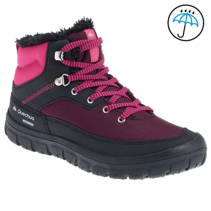 Botas de senderismo nieve júnior SH100 warm cordones mid rosa