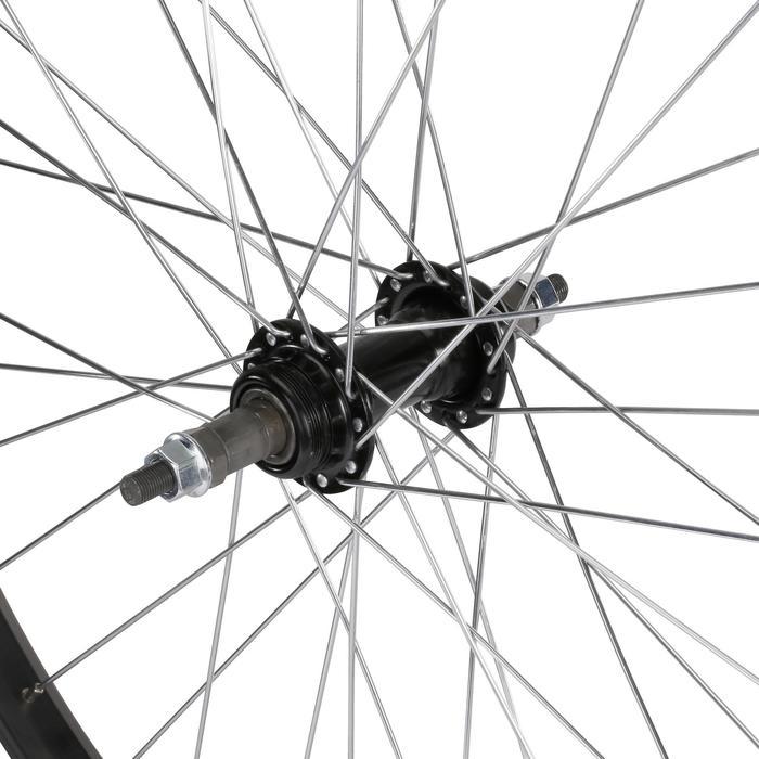 """Achterwiel voor kinderfiets 24"""" enkelwandig met freewheel en moeren zwart"""