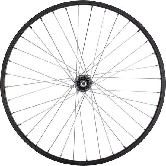Junior freewheel achterwiel 24'' enkelwandig zwart met moeren - 1035415