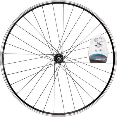 "Wheel 28"" Rear Double Wall Rim Freewheel V-Brake Hybrid Bike - Black"