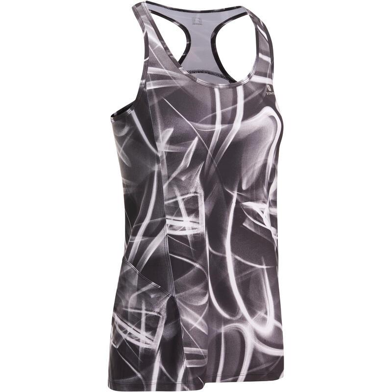 Lange fitnesstop Energy voor dames print zwart en wit