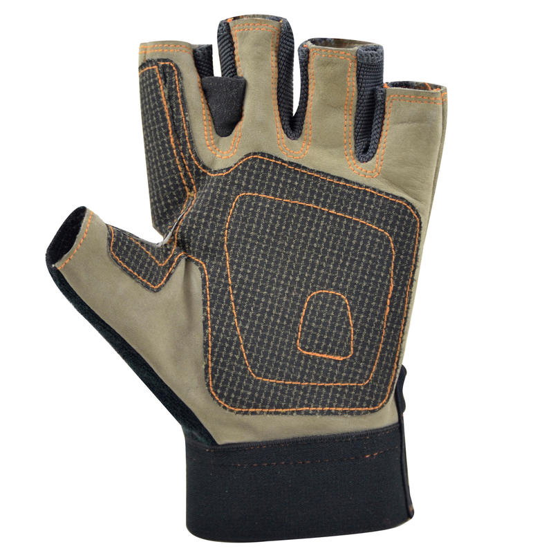 Fingerless leather gloves with Kevlar palm reinforcement