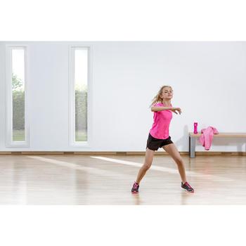 Gymshort W500 voor meisjes zwart roze
