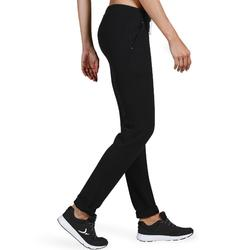 Damesbroek 500 voor gym en stretching slim fit zwart