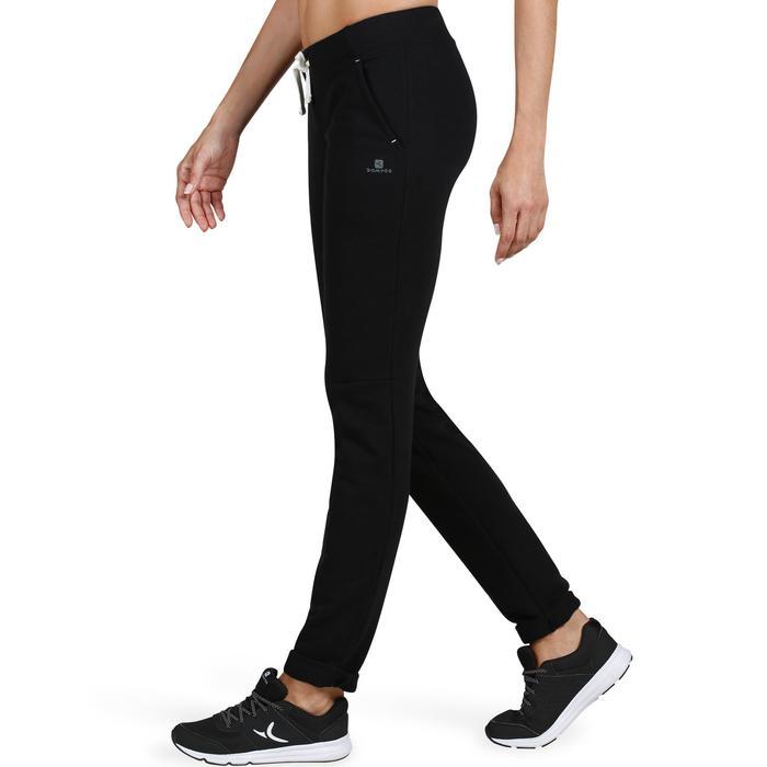 Pantalón Chándal Gimnasia Pilates Domyos 500 Slim Mujer Negro