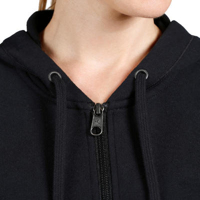 520 Women's Pilates & Gentle Gym Hooded Jacket - Black