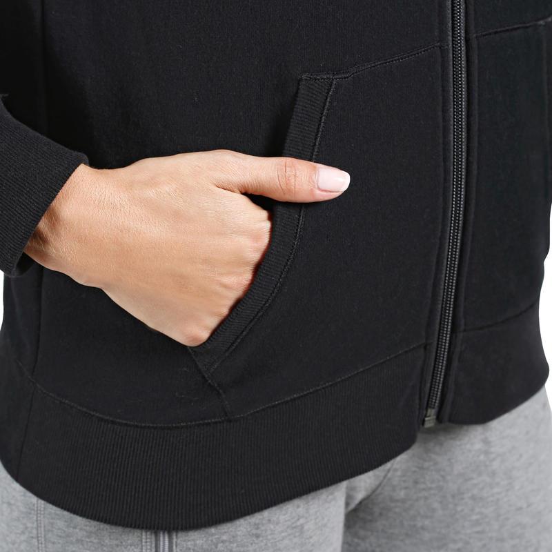 Veste 520 capuche Pilates Gym douce femme noir