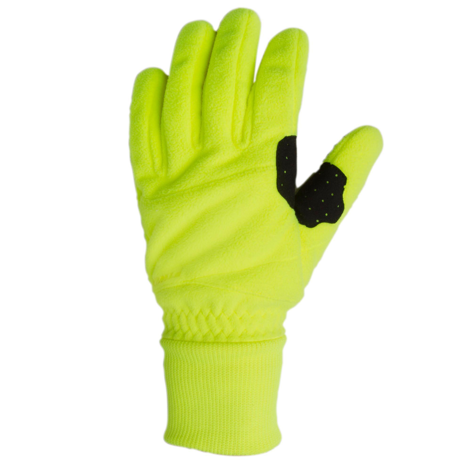Triban Fietshandschoenen 100 winter fleece fluogeel