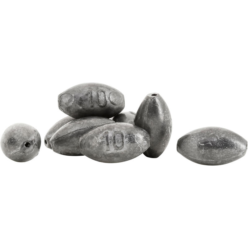 Drilled rounded olive fishing sinkers