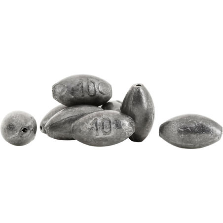 Izurbti, apaļi olīvveida atsvari makšķerēšanai