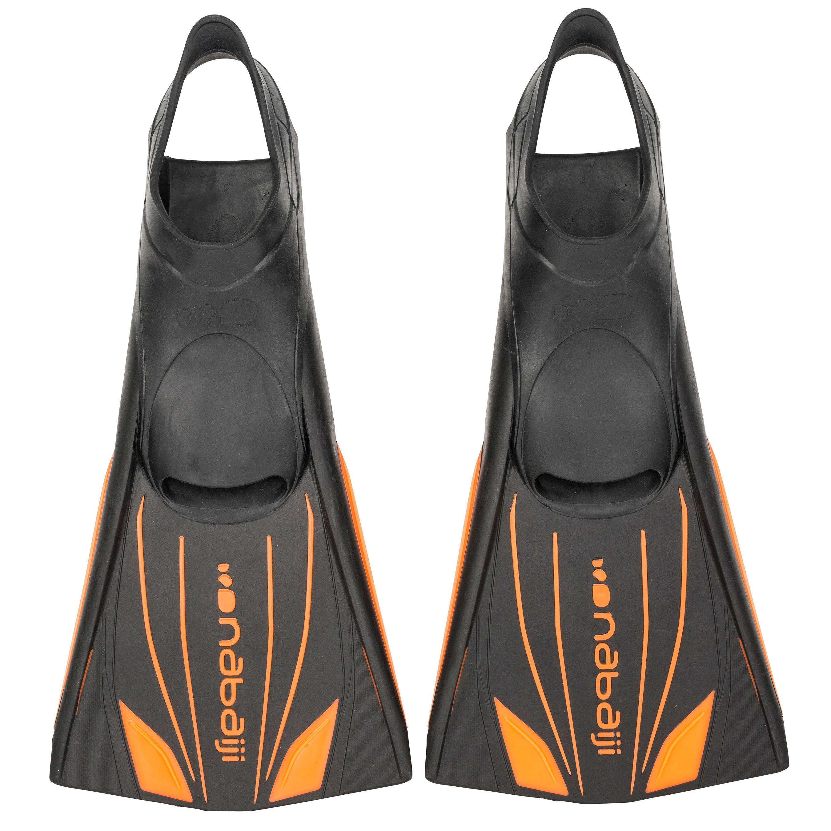 Topfins Long Rigid Swim Fins - Black Orange