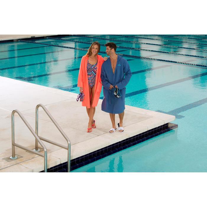 Compacte microvezel heren badjas met capuchon, zakken en bindceintuur blauw