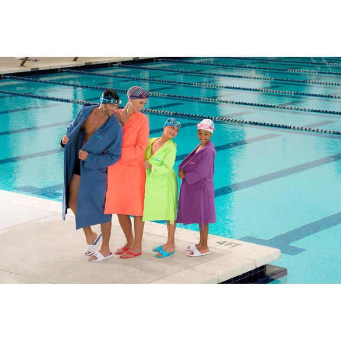 Bademantel Mikrofaser Damen violett mit Kapuze, Taschen und Gürtel