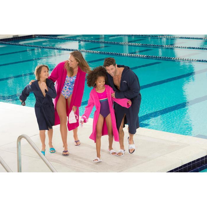 Peignoir coton léger natation junior rose avec ceinture, poches et capuche - 1038349