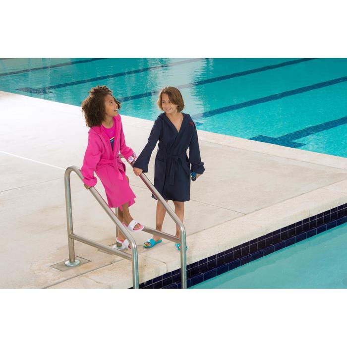 Peignoir coton léger natation junior rose avec ceinture, poches et capuche - 1038350