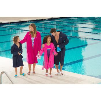 Peignoir coton léger natation junior rose avec ceinture, poches et capuche - 1038352