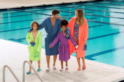 بشكير الألياف الدقيقة لسباحة الأطفال له قناع وجيوب وحزام - أزرق