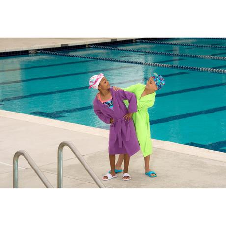 Peignoir microfibre natation enfant bleu avec capuche for Peignoir piscine