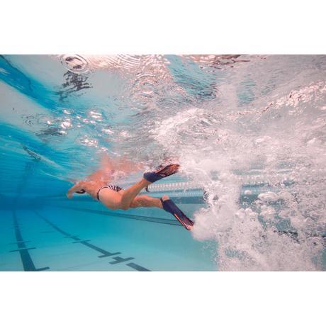 Palmes longues rigides natation topfins noir orange nabaiji for Palmes natation piscine