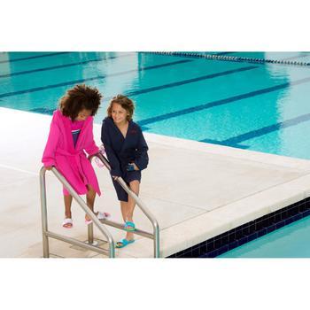 Albornoz de algodón ligero natación junior rosa cinturón, bolsillos y capucha