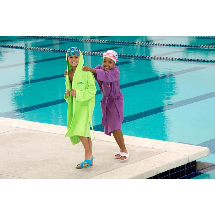 Peignoir microfibre natation enfant violet avec capuche, poches et ceinture