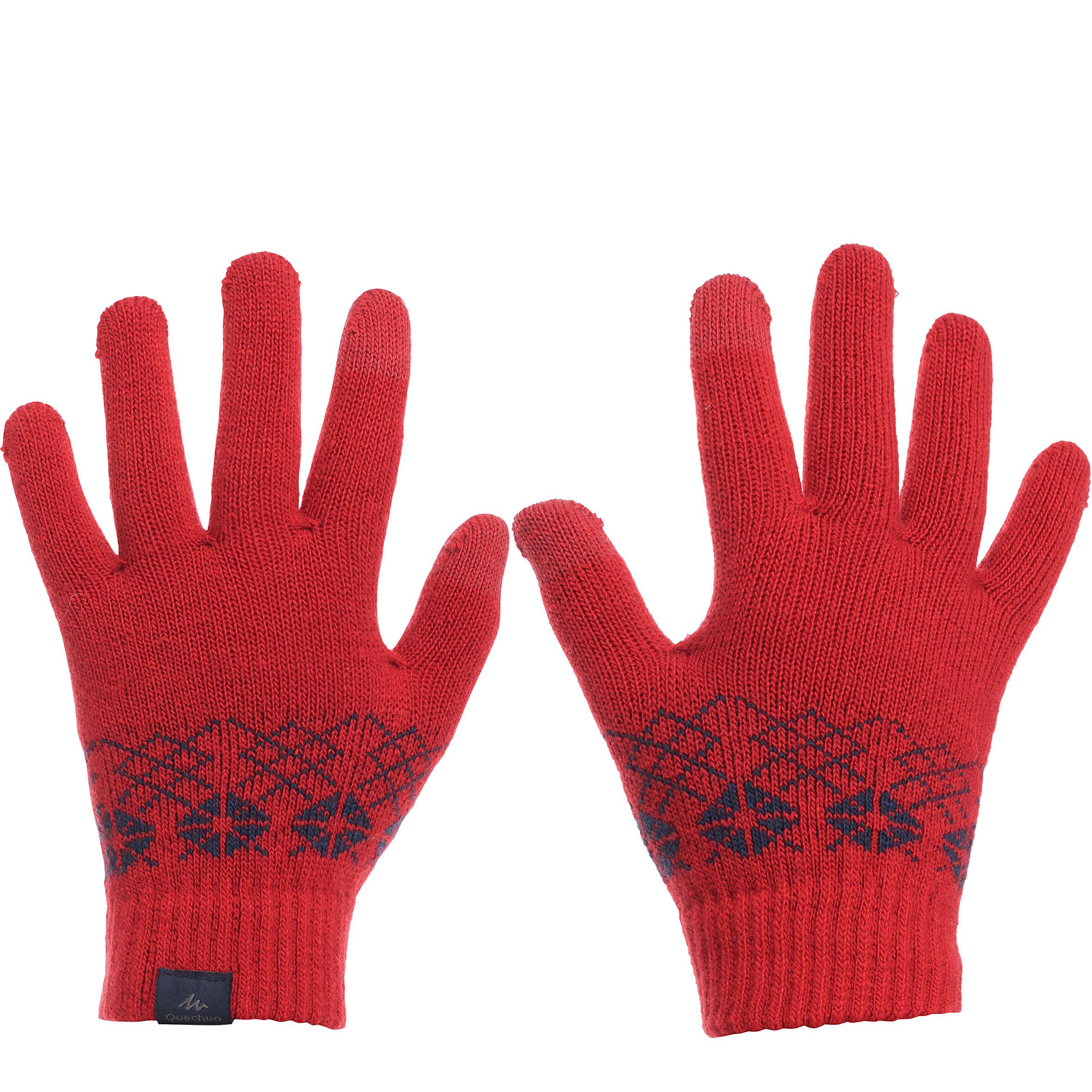 Gants randonnée enfant Arpenaz 50 tactiles rouges