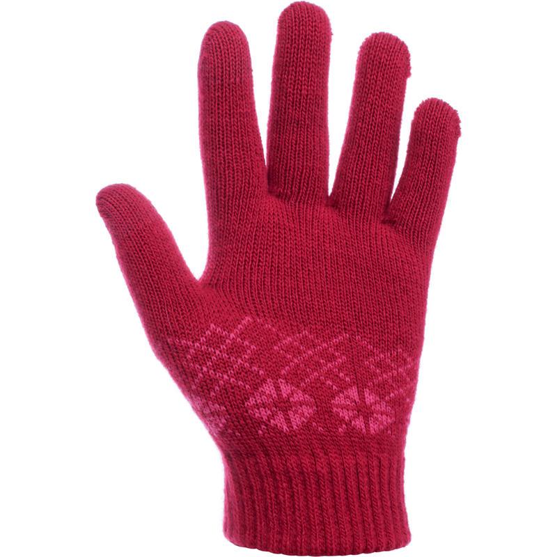 ถุงมือเด็กแบบถักสำหรับใส่เดินป่ารุ่น MH100 (สีชมพู)