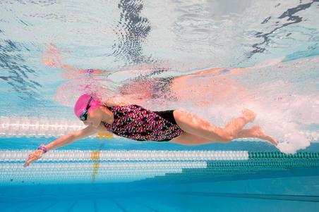 Дівчачий суцільний купальник Kamiye, хлоростійкий - Чорний з візерунками