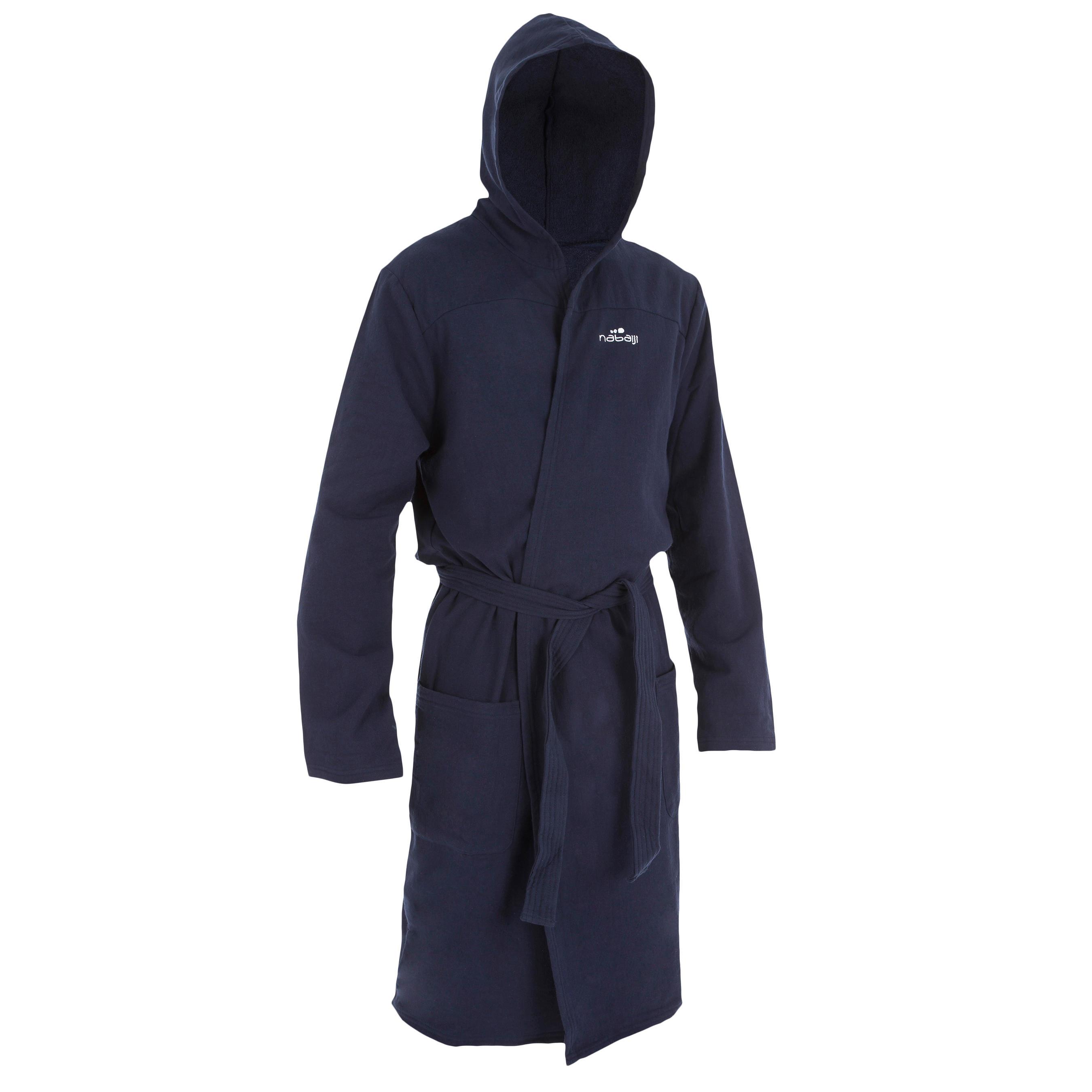 nabaiji peignoir coton l ger natation homme bleu fonc avec ceinture poches et capuche decathlon. Black Bedroom Furniture Sets. Home Design Ideas