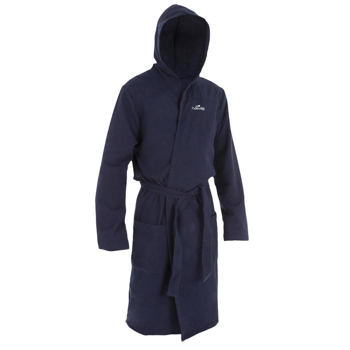 Bademantel leichte Baumwolle mit Gürtel, Taschen und Kapuze Herren dunkelblau